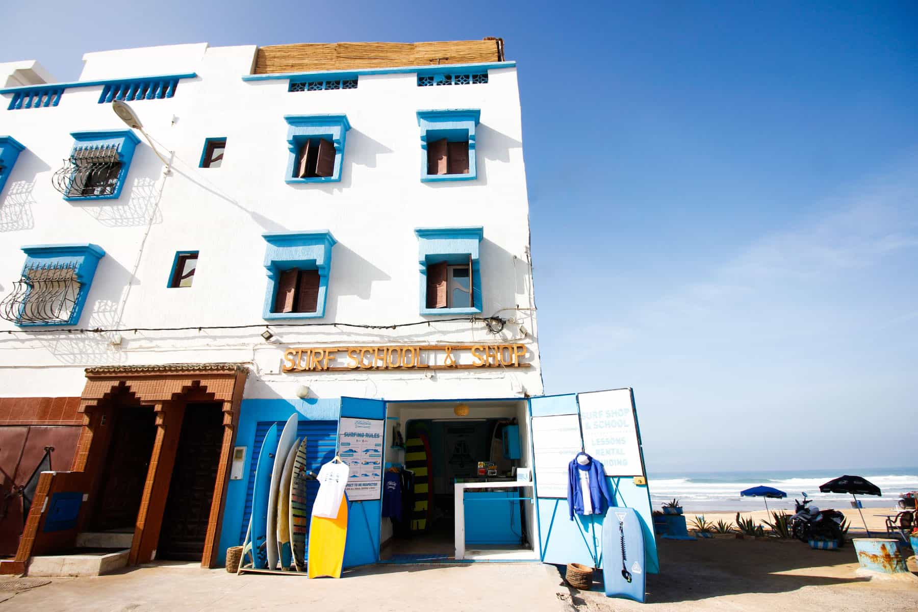surf shop and rental in blue waves morocco