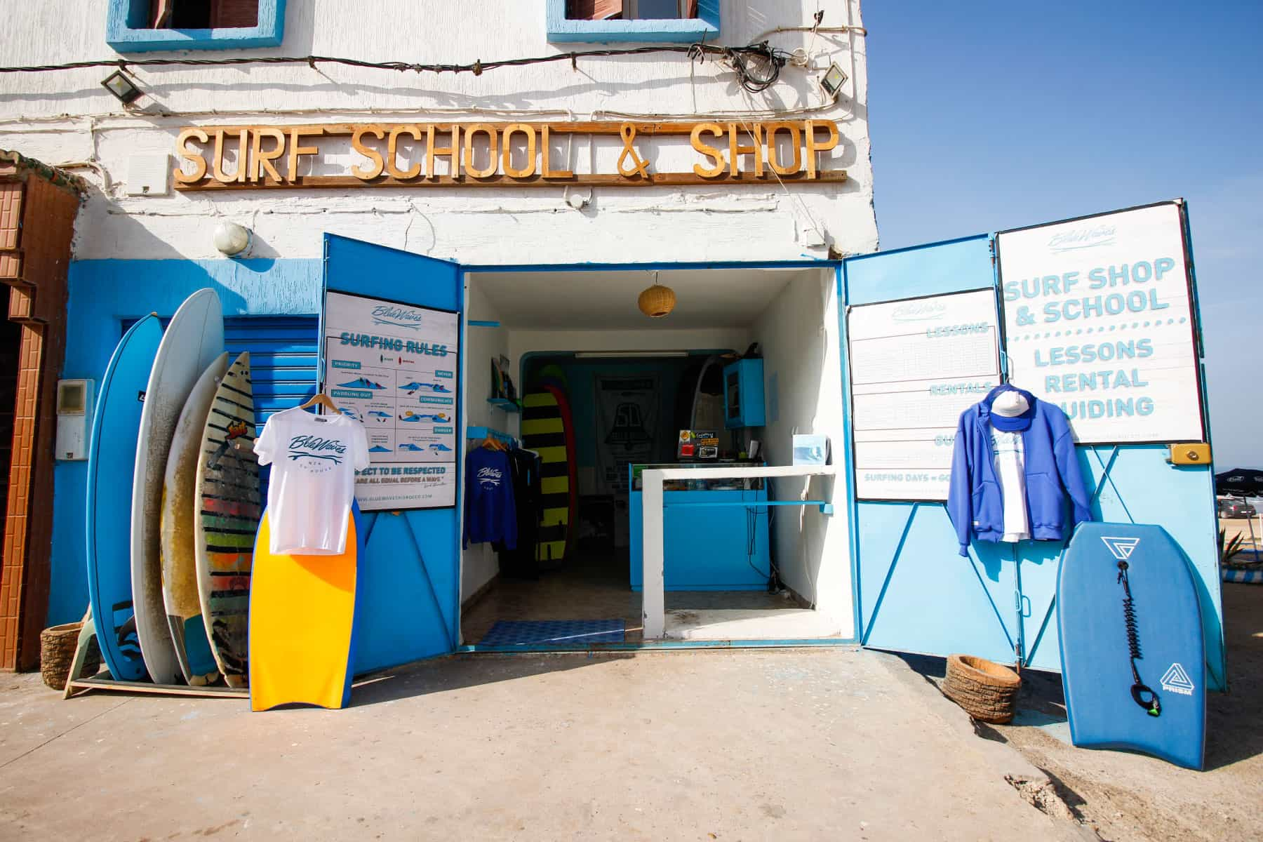 our surf shop & rent in blue waves morocco