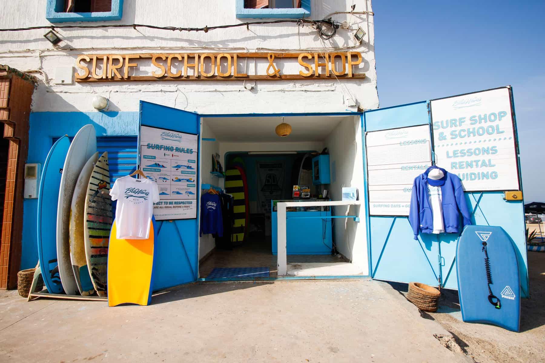 surf shop & rent blue waves morocco