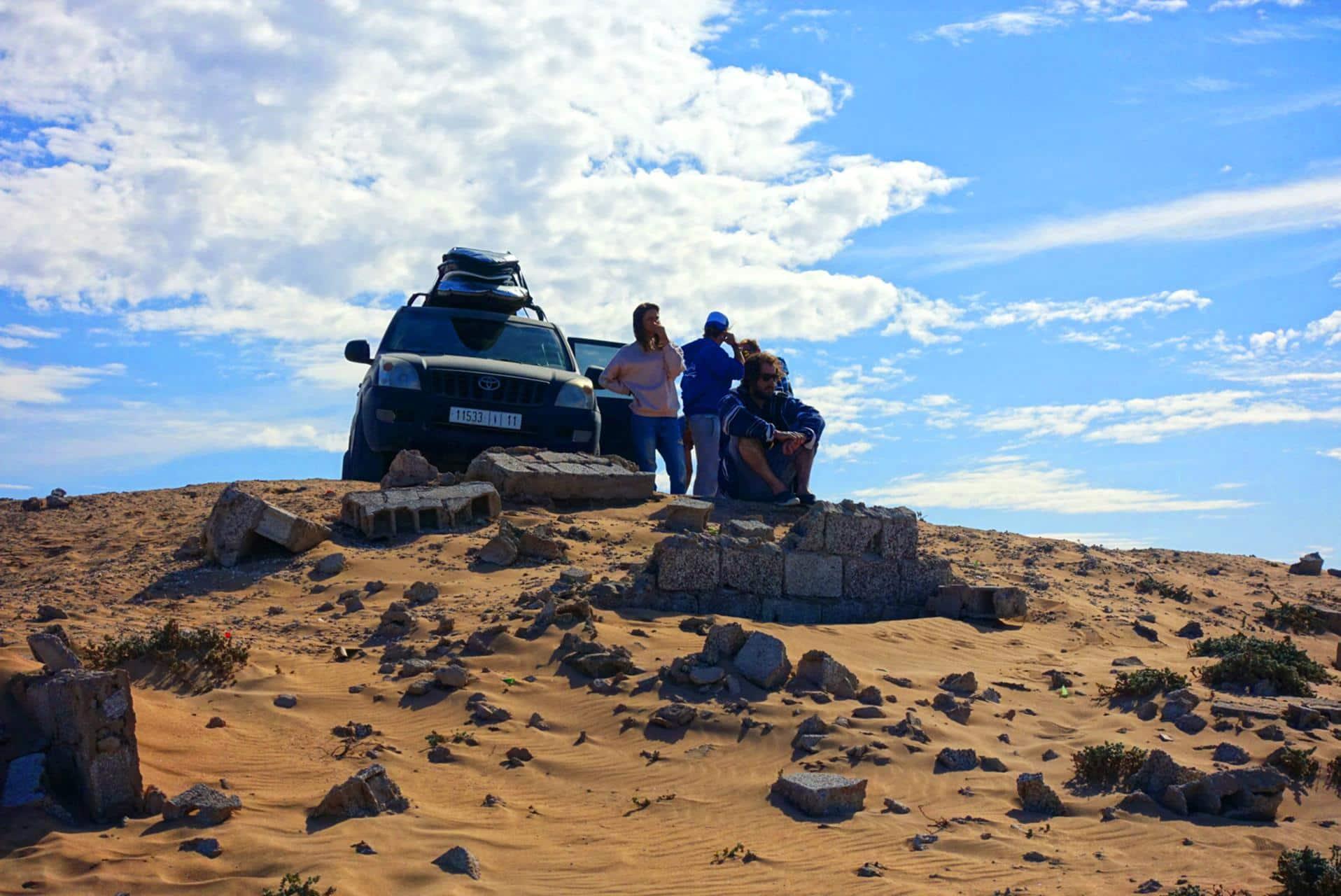 Stop on the desert road