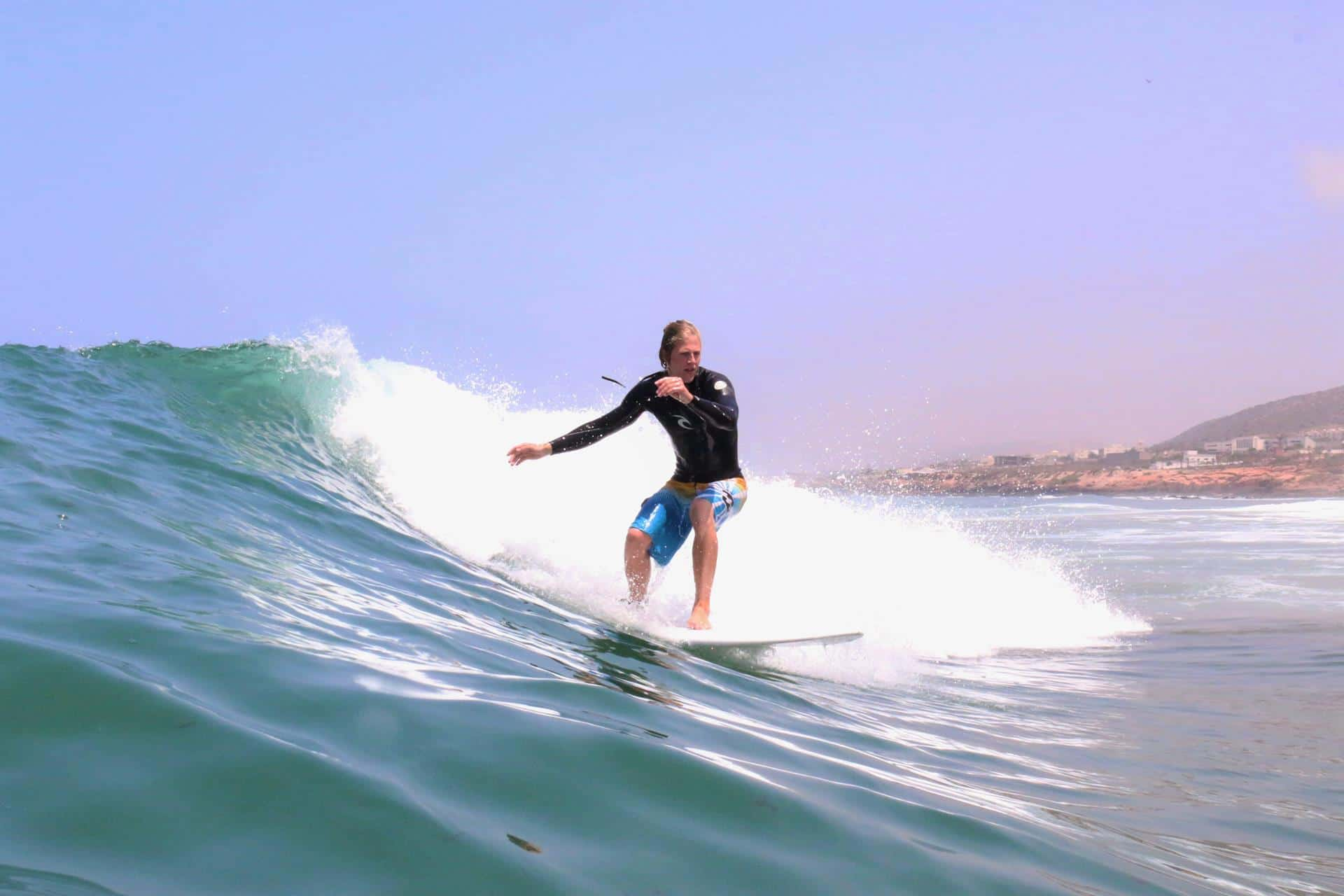 surfing the waves in Blue Waves